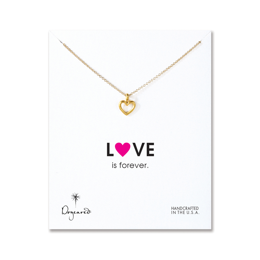 Dogeared Jewelry love is forever open heart necklace gold