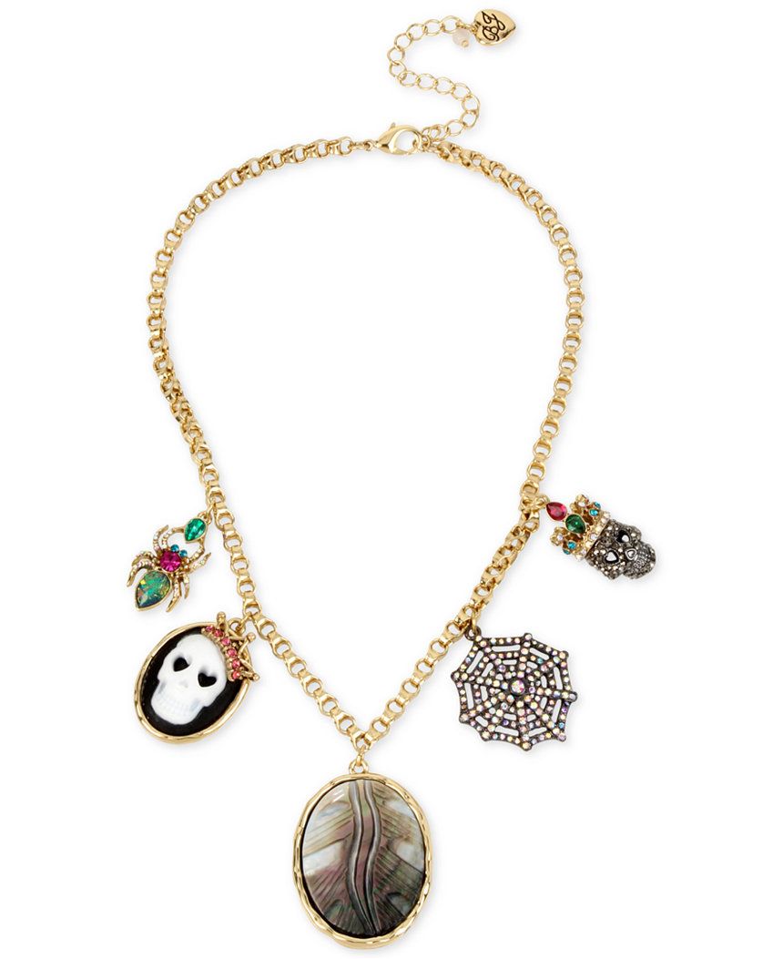 Betsey Johnson Jewelry Halloween Multi Charm FRONTAL Necklace