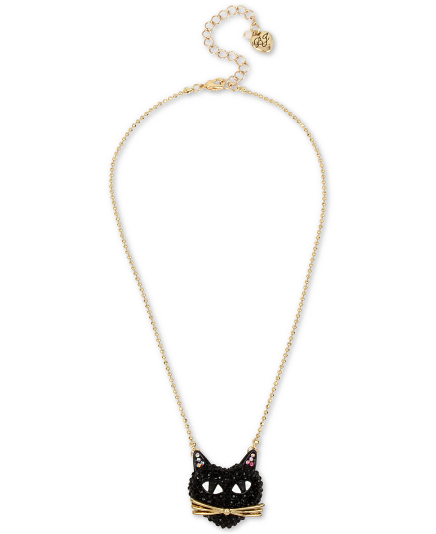 Betsey Johnson Jewelry Halloween BLACK PAVE CAT Pendant Necklace