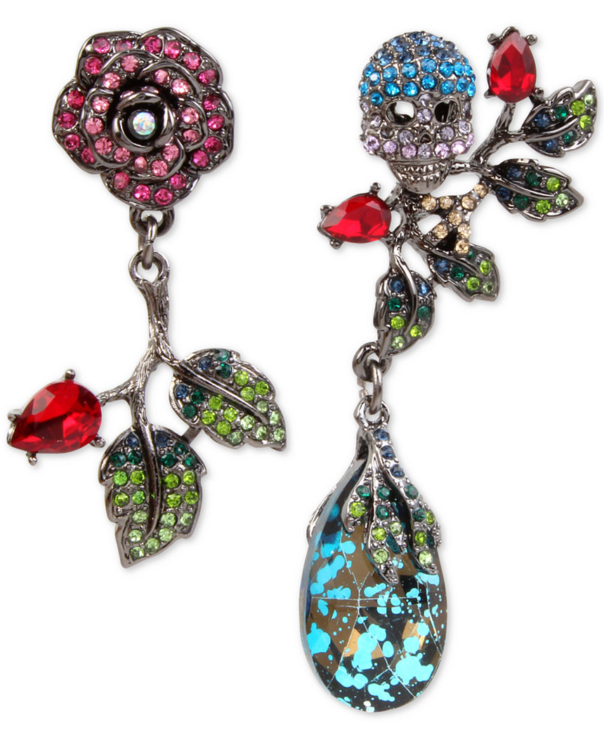 Betsey Johnson Jewelry GARDEN OF EXCESS Rose Skull MisMatch Earrings