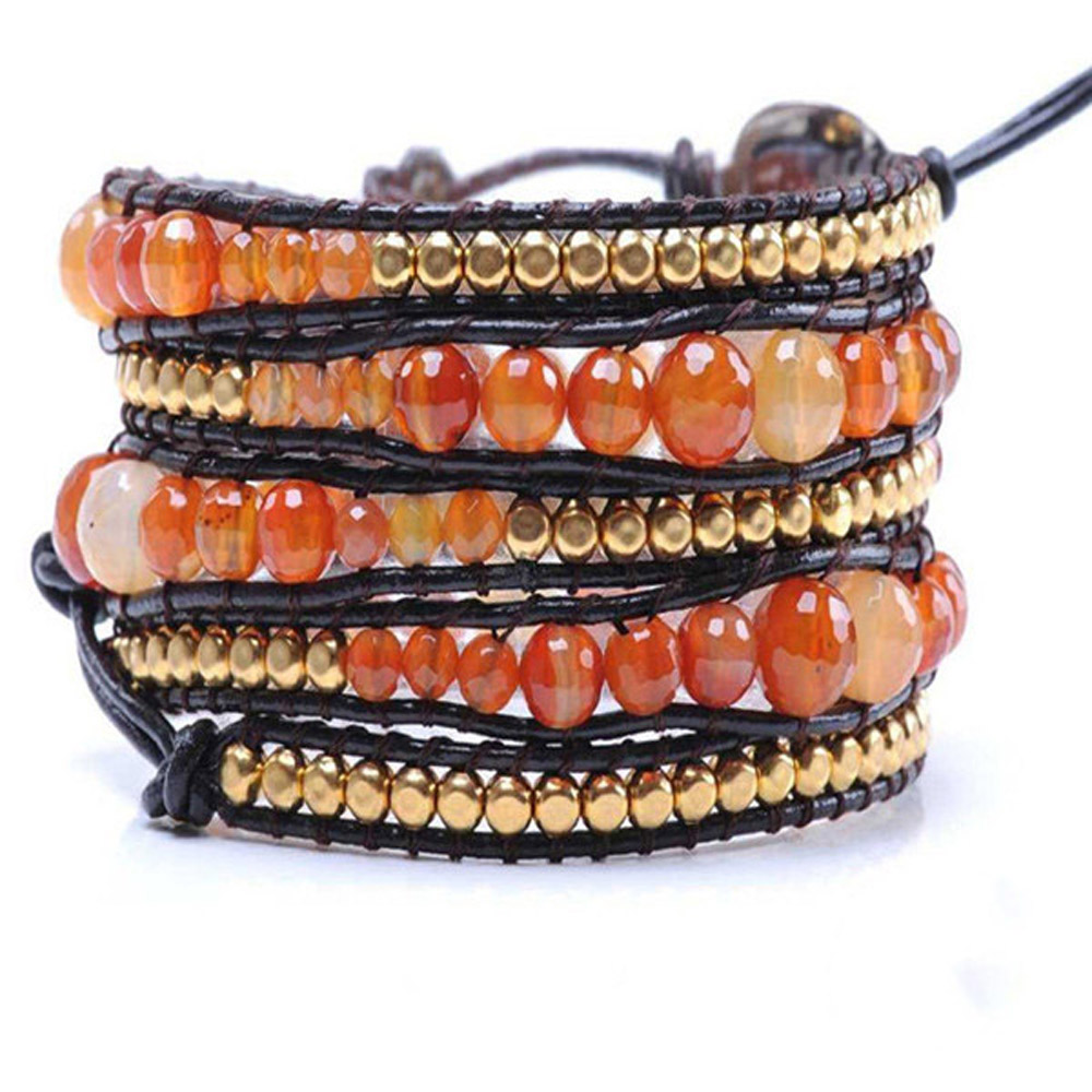 Lin Suu Jewelry Leather Agate With Gold Long Wrap Bracelet