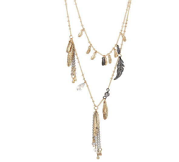 Betsey Johnson Jewelry ANGELS AND WINGS TWO ROW FEATHER NECKLACE