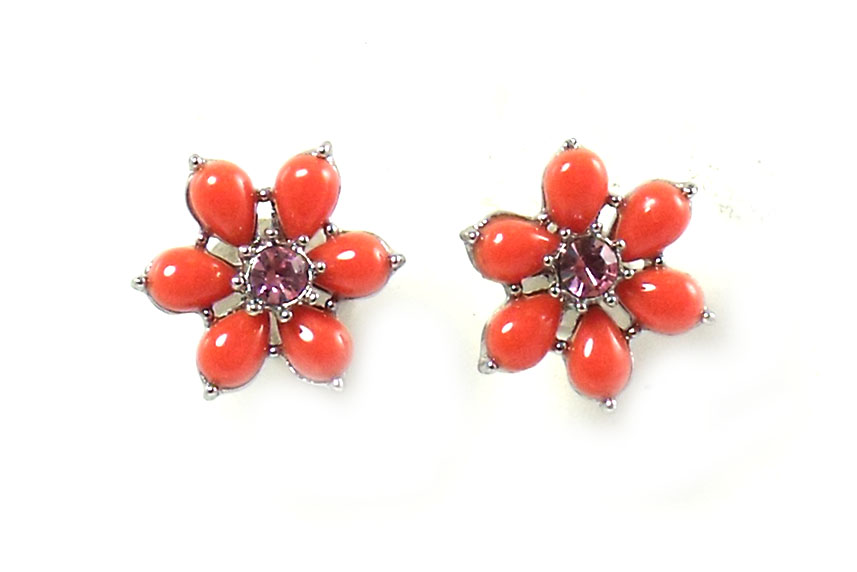 Betsey Johnson Jewelry Iconic Coral Glam Flower Stud Earrings