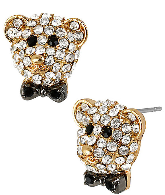 Betsey Johnson Jewelry Day at the Zoo Pave Bear Stud Earrings