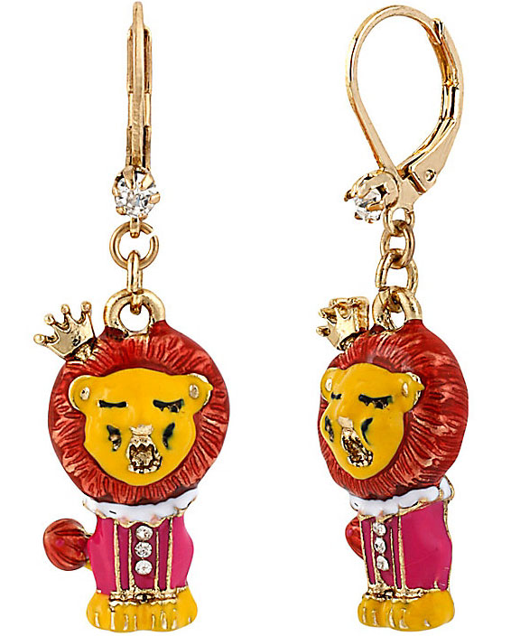 Betsey Johnson Jewelry Day at the Zoo Lion Drop Earrings