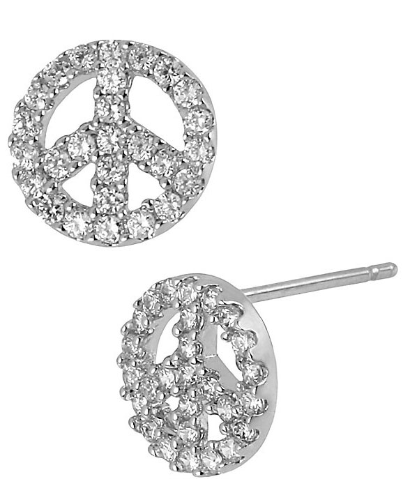 Betsey Johnson Jewelry ICONIC AMETHYST Peace Sign Silver Earring