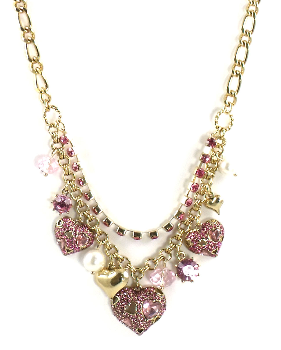 Betsey Johnson Jewelry PINKALICIOUS Heart Charm Necklace