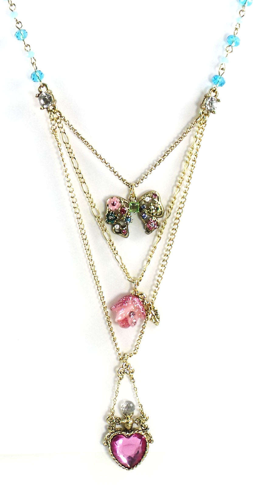 Betsey Johnson Jewelry FAIRYLAND Heart Rose Bow Necklace