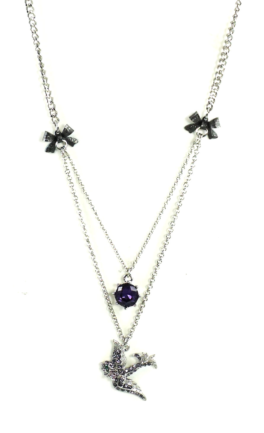 Betsey Johnson Jewelry ICONIC AMETHYST Snake Bird Duo Necklace