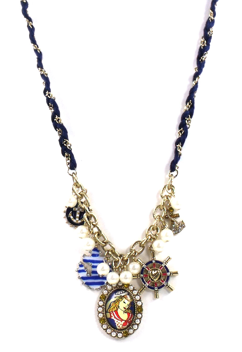 Betsey Johnson Jewelry Anchors Away Pinup Girl Necklace