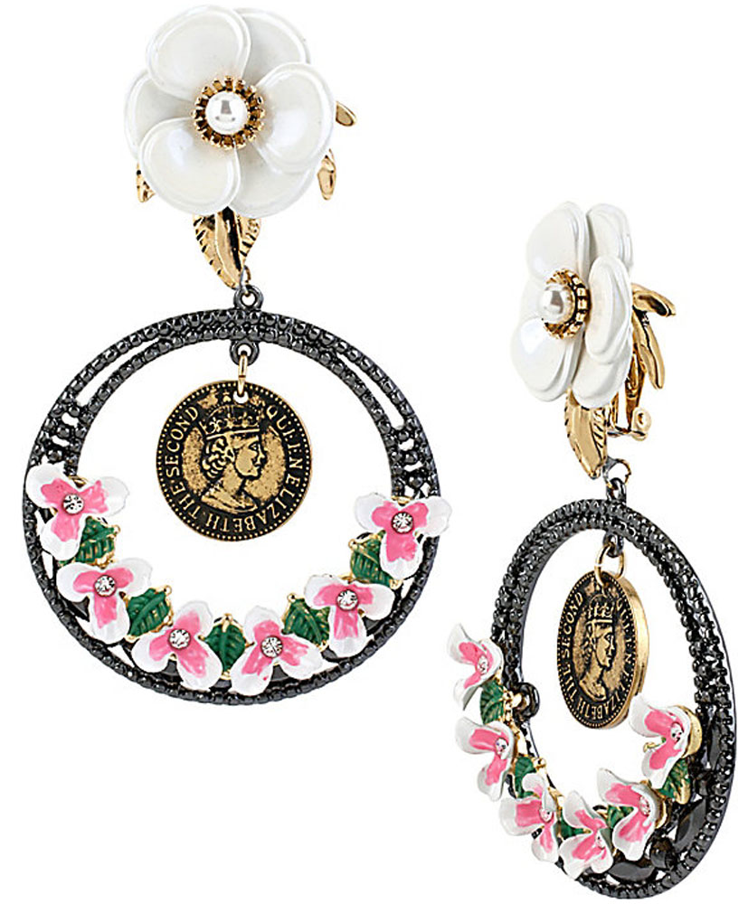 Betsey Johnson Jewelry VINTAGE FLOWER COIN EARRING