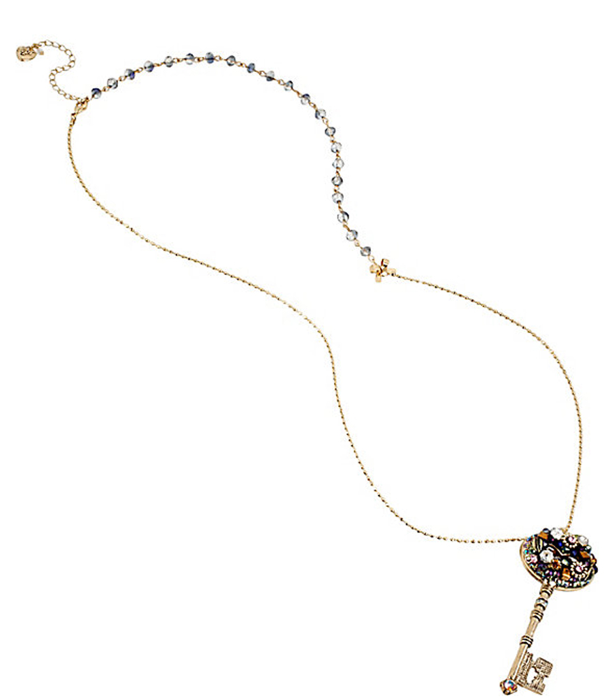 Betsey Johnson Jewelry WOVEN CLUSTERS KEY LONG PENDANT