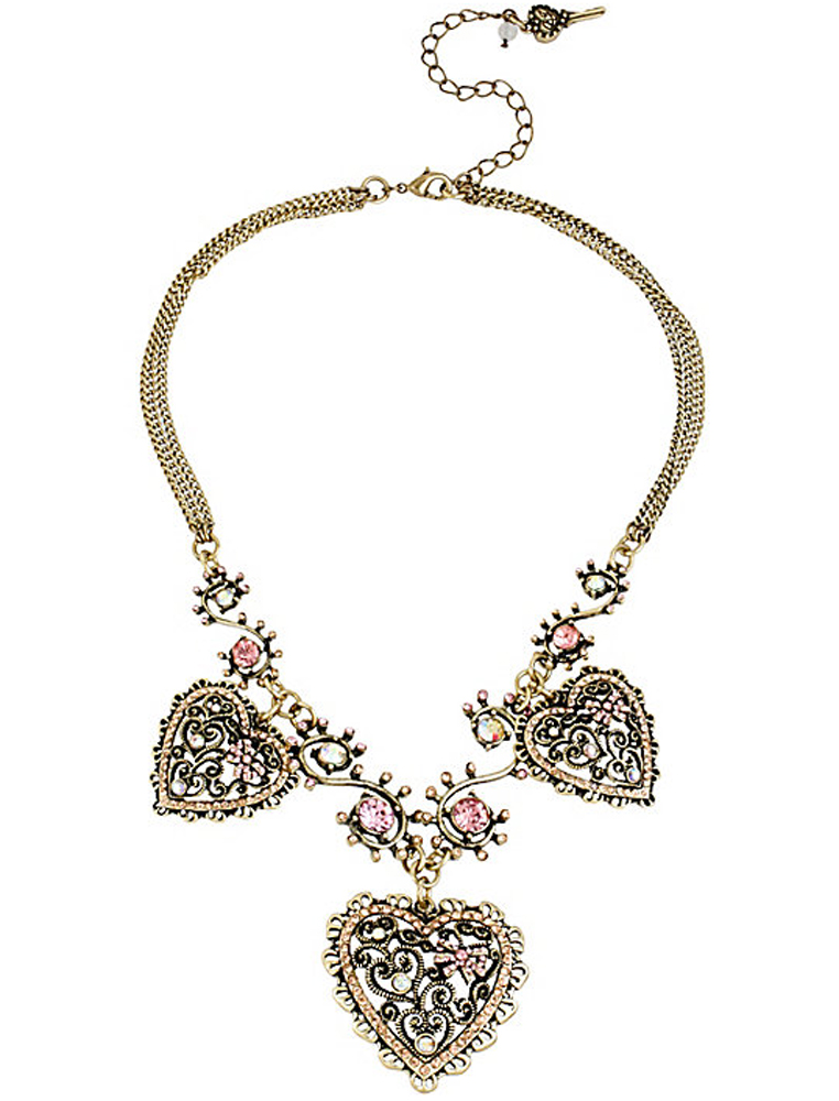 Betsey Johnson Jewelry VINTAGE PINK HEART FRONTAL NECKLACE