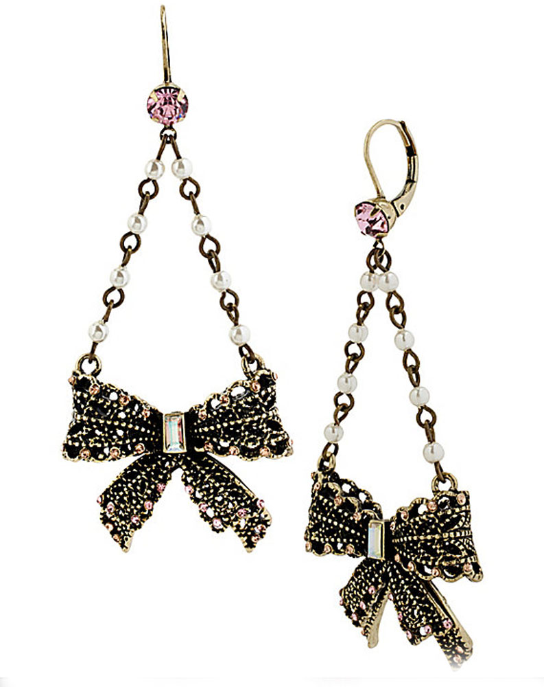 Betsey Johnson Jewelry VINTAGE PEARL LACE BOW DROP EARRING