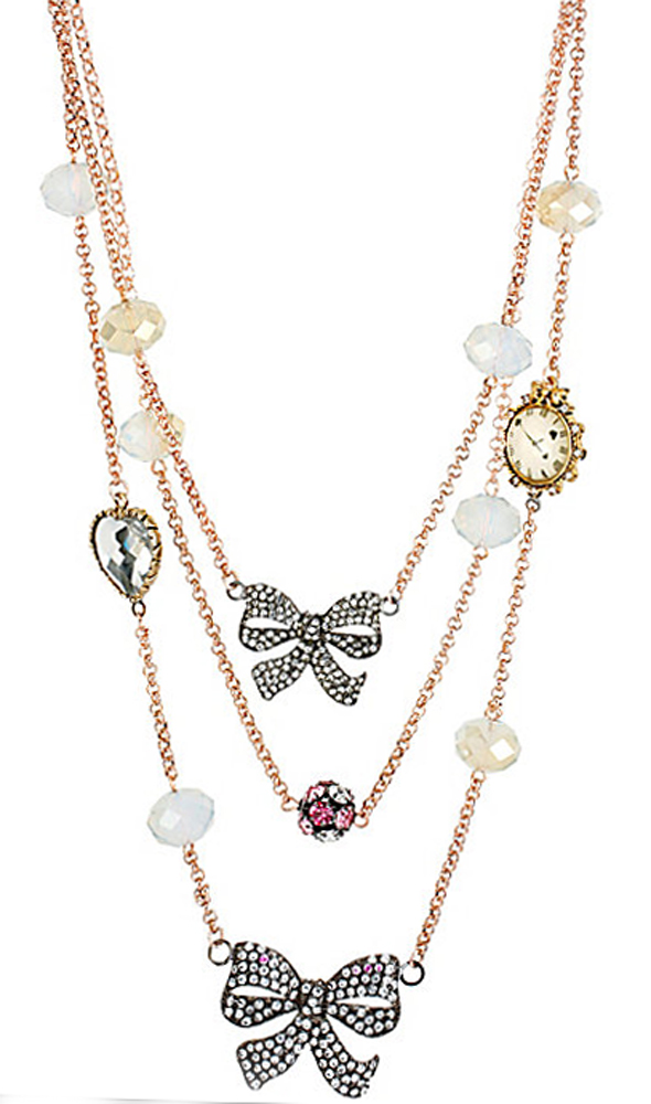 Betsey Johnson Jewelry Oversized ILLUSION CRYSTAL BOW NECKLACE