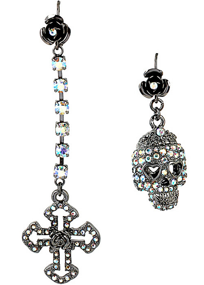 Betsey Johnson Jewelry ILLUSION MISMATCH CRYSTAL SKULL EARRING