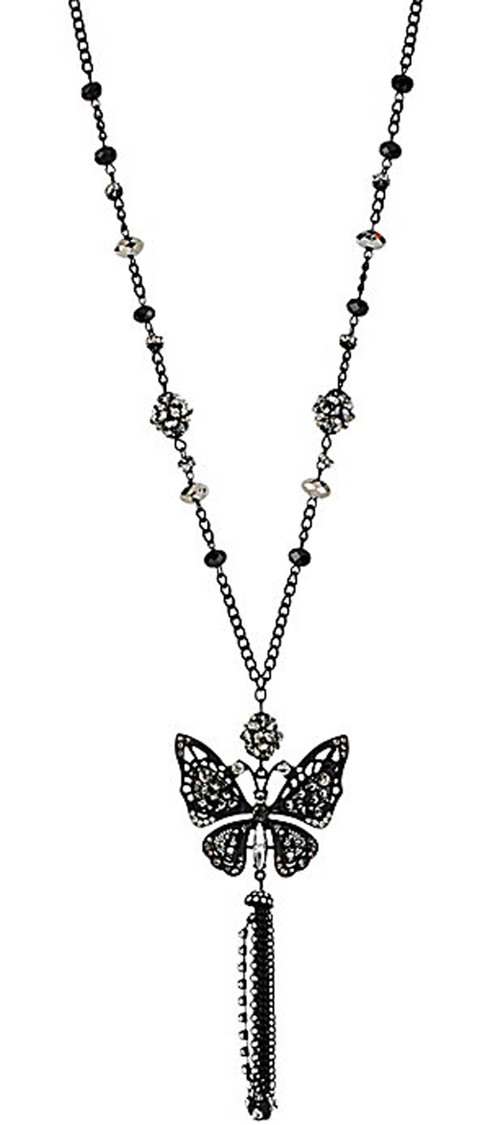Betsey Johnson Jewelry BLACKOUT BUTTERFLY PENDENT NECKLACE