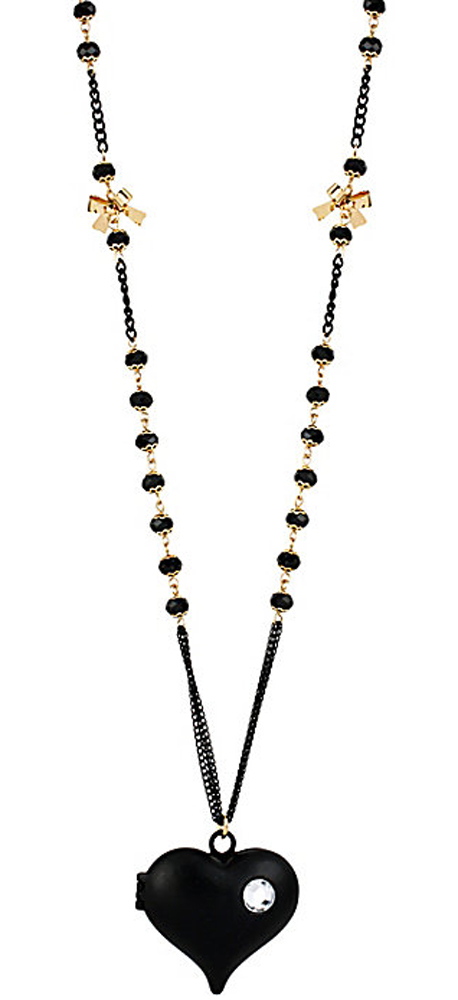 Betsey Johnson Jewelry BLACK HEARTS LONG PENDANT NECKLACE