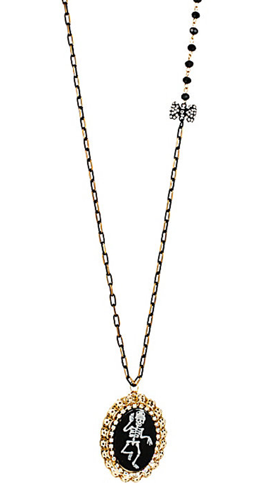 Betsey Johnson Jewelry CREEPSHOW DANCING SKULL LOCKET NECKLACE