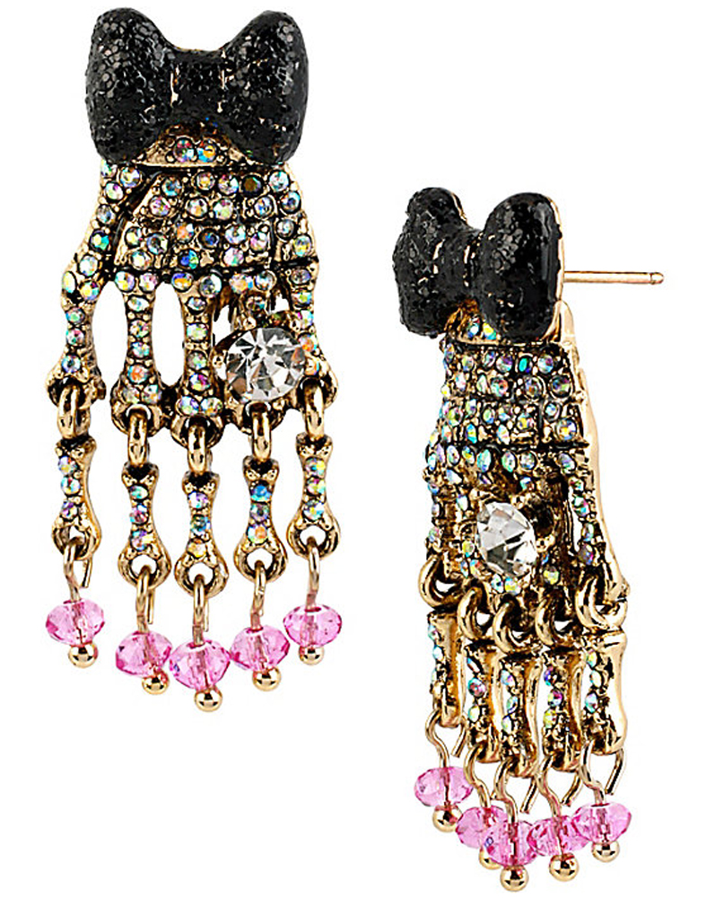 Betsey Johnson Jewelry CREEPSHOW BOW SKELETON HANDS DROP EARRING