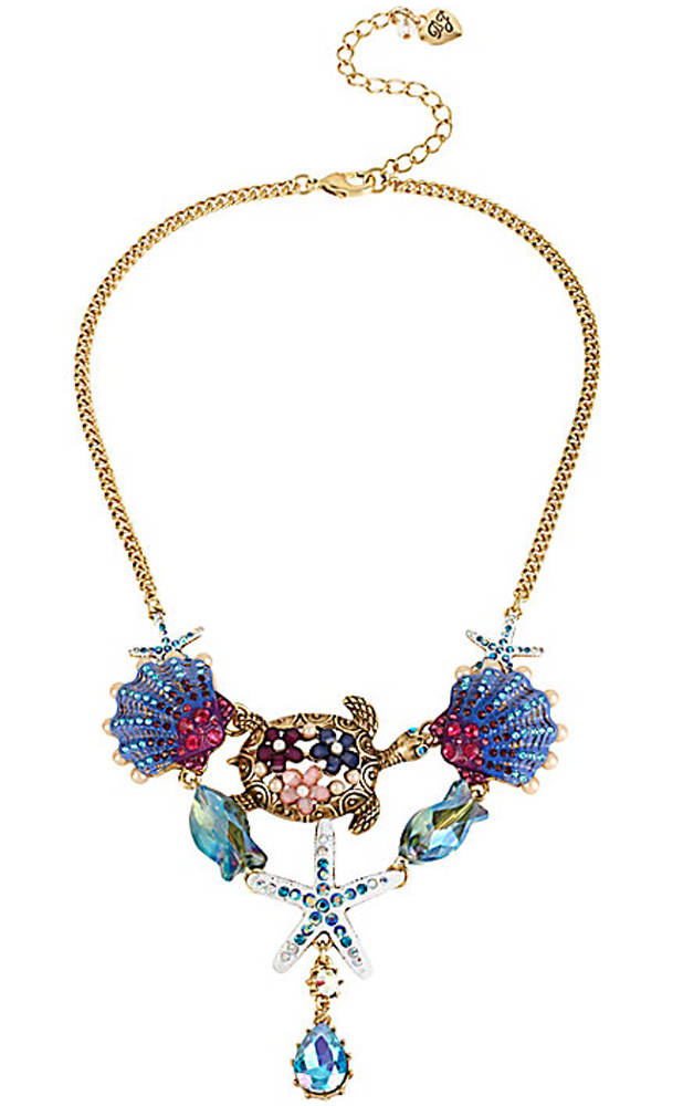 Betsey Johnson Jewelry INTO THE BLUE TURTLE SEASHELL NECKLACE