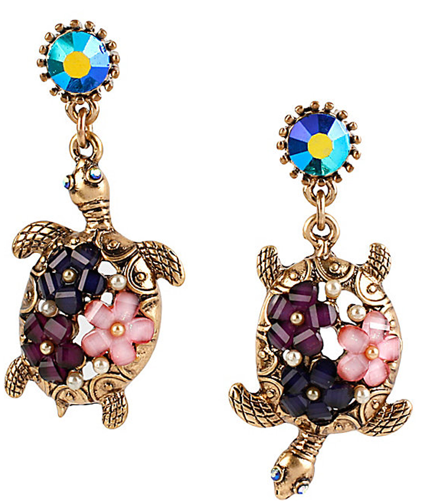 Betsey Johnson Jewelry INTO THE BLUE FLOWER TURTLE EARRING