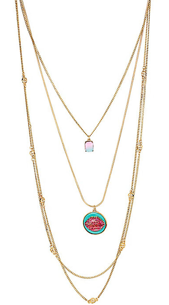Betsey Johnson Jewelry OCEAN DRIVE PINK LIPS LONG NECKLACE
