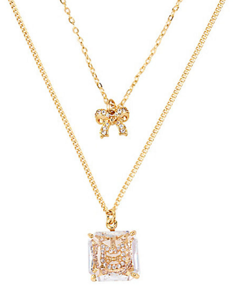 Betsey Johnson Jewelry MINI CZ'S CAT BOW Two Row Necklace