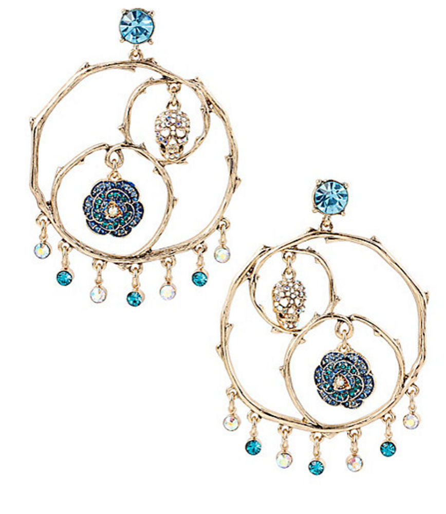Betsey Johnson Jewelry SKULLS AND ROSES Gypsy Hoop Earrings