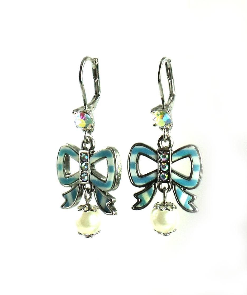 Betsey Johnson Jewelry ANCHORS AWAY Blue Bow Drop Earrings