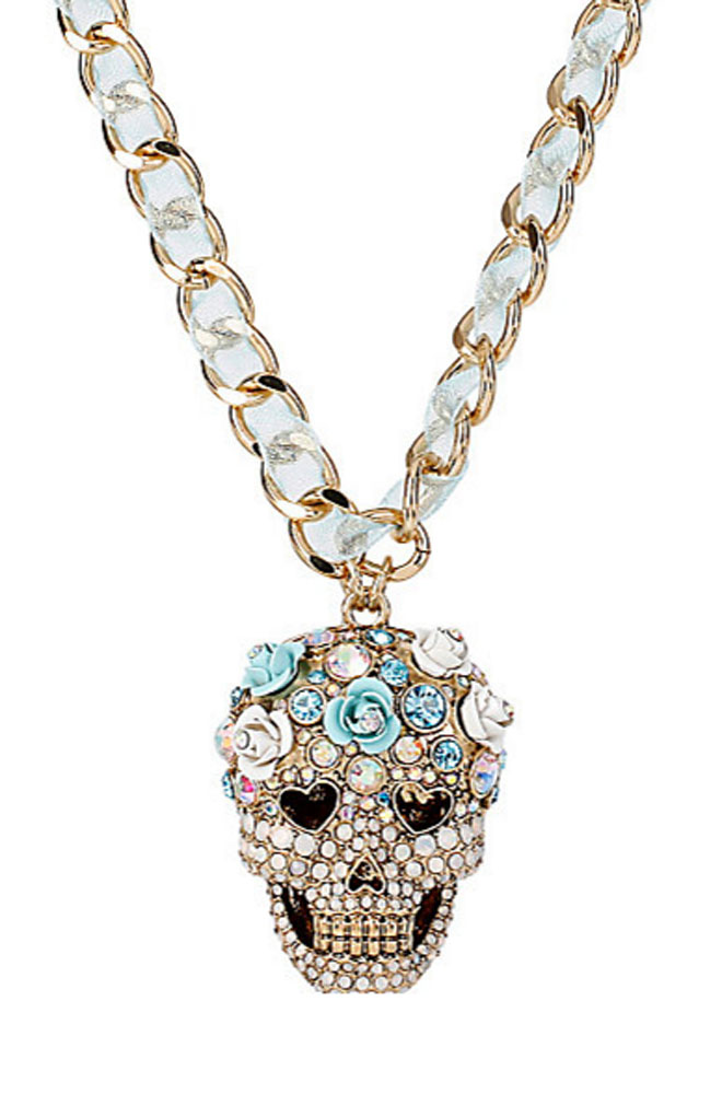 Betsey Johnson Jewelry SKULLS AND ROSES Skull Pendant Necklace