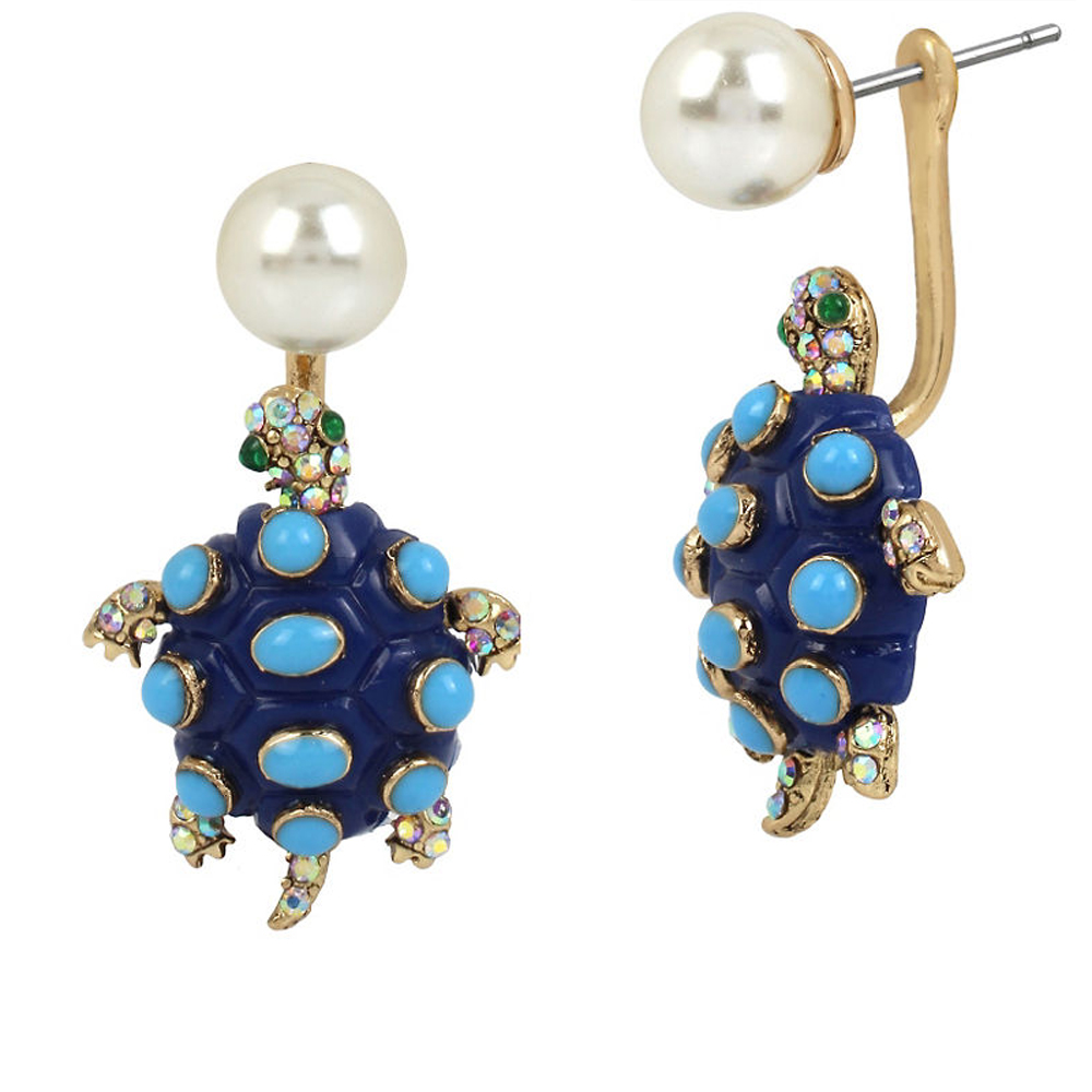 Betsey Johnson Jewelry BETSEY and THE SEA Pearl and Turtle Front Back Earring