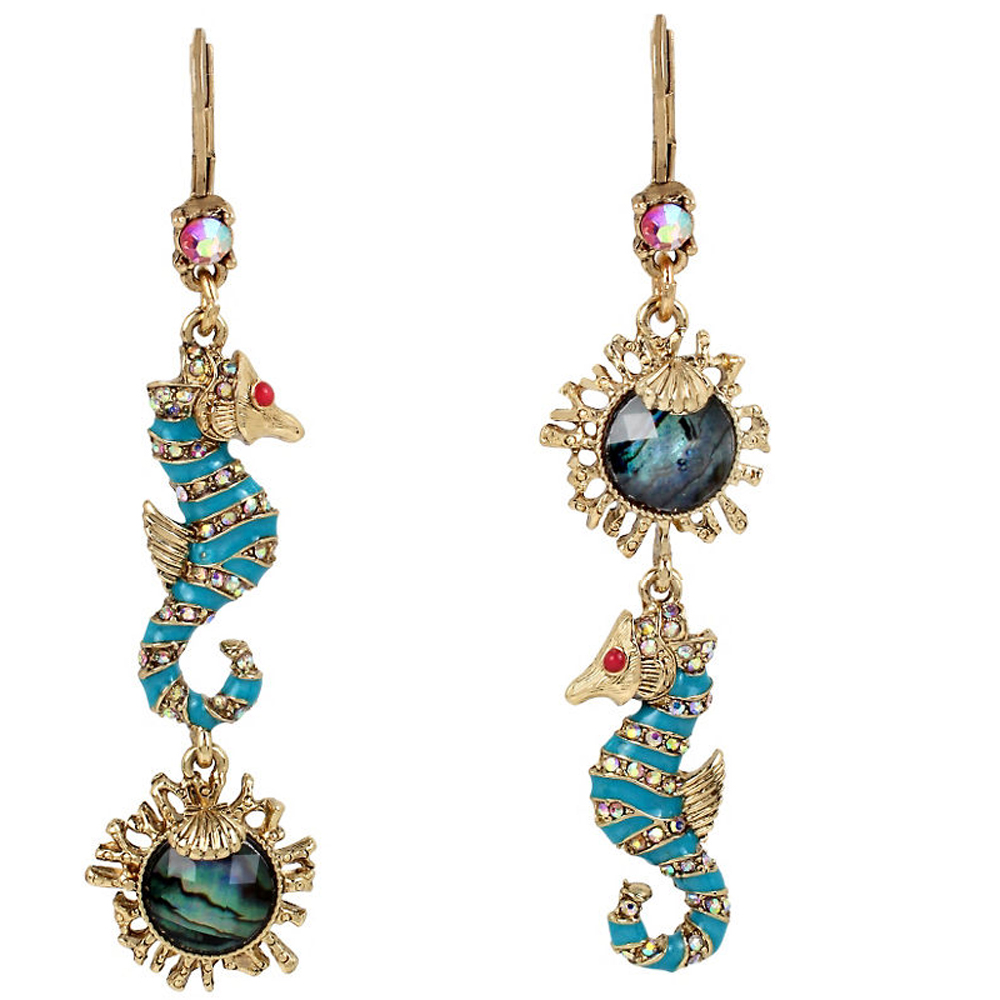 Betsey Johnson Jewelry BETSEY and THE SEA Sea Horse Mismatch Drop Earrings