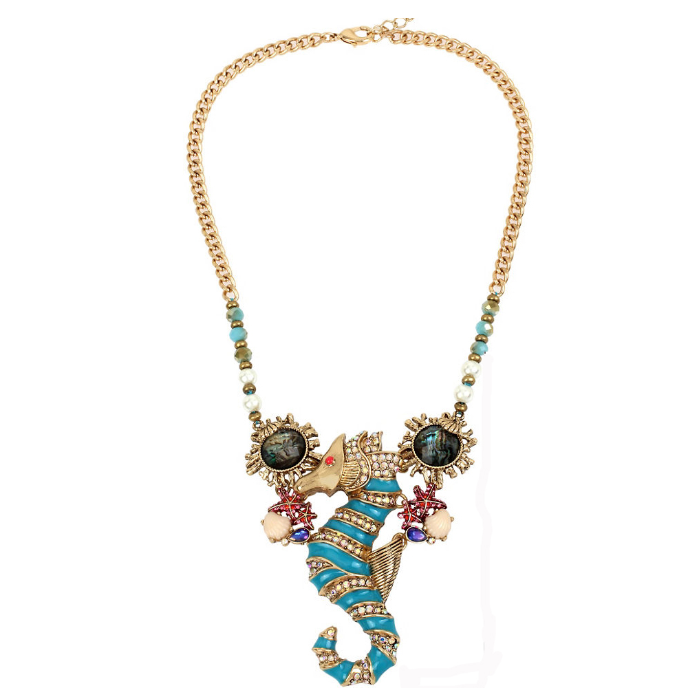Betsey Johnson Jewelry BETSEY and THE SEA Sea Horse Frontal Necklace