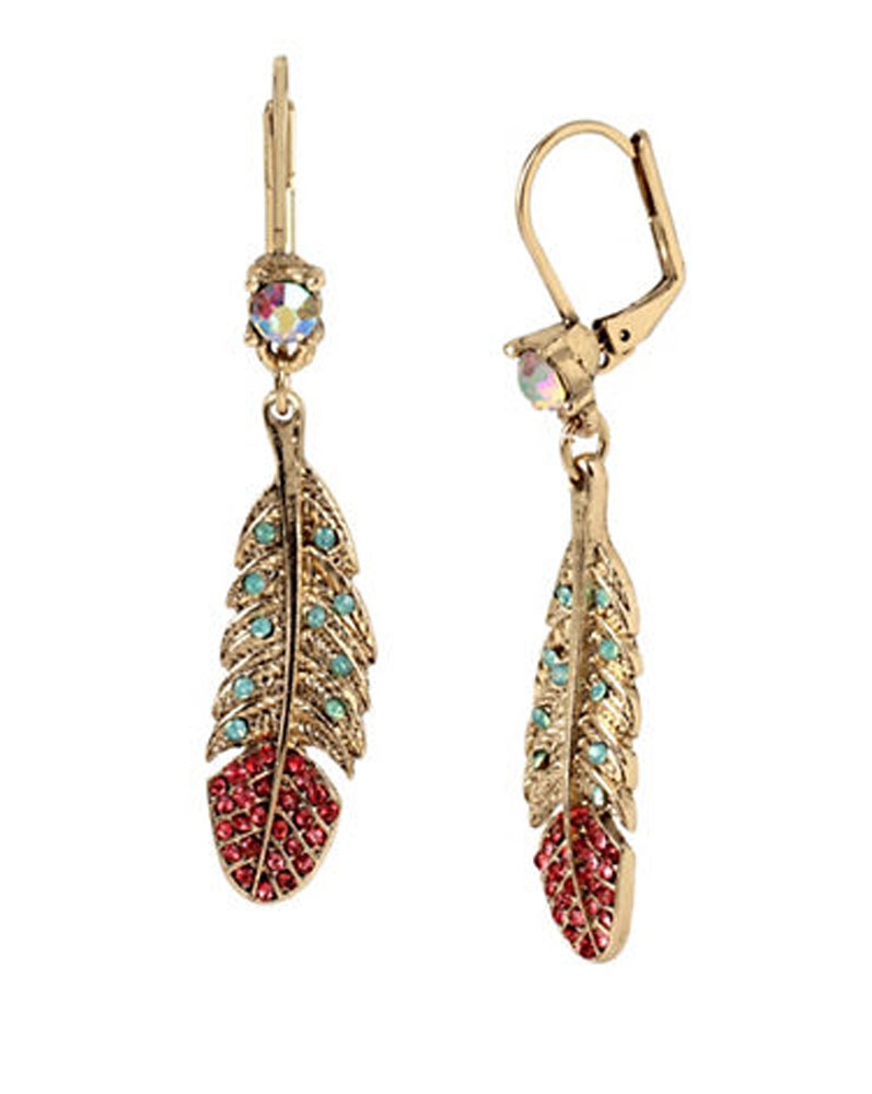 Betsey Johnson Jewelry Delicates Feather Drop Earrings