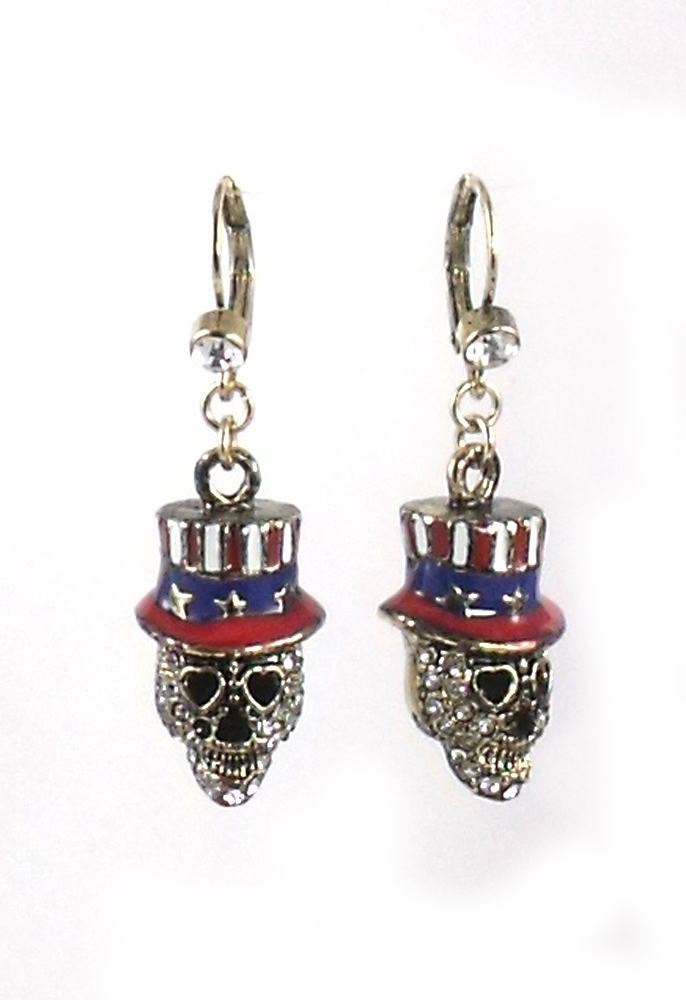 Betsey Johnson Jewelry Americana Skull Girl Drop Earrings