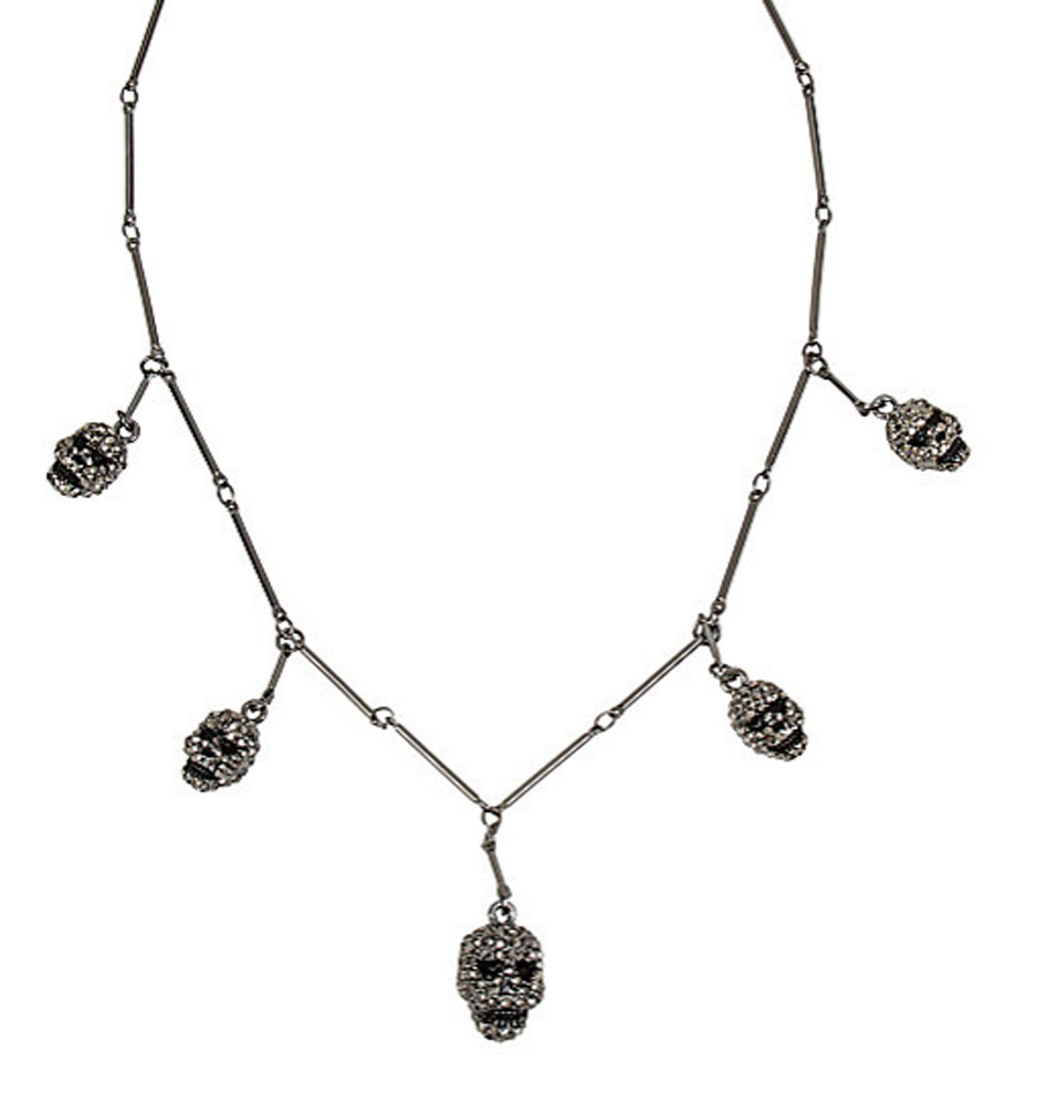Betsey Johnson Jewelry Halloween Black Skull Frontal Necklace