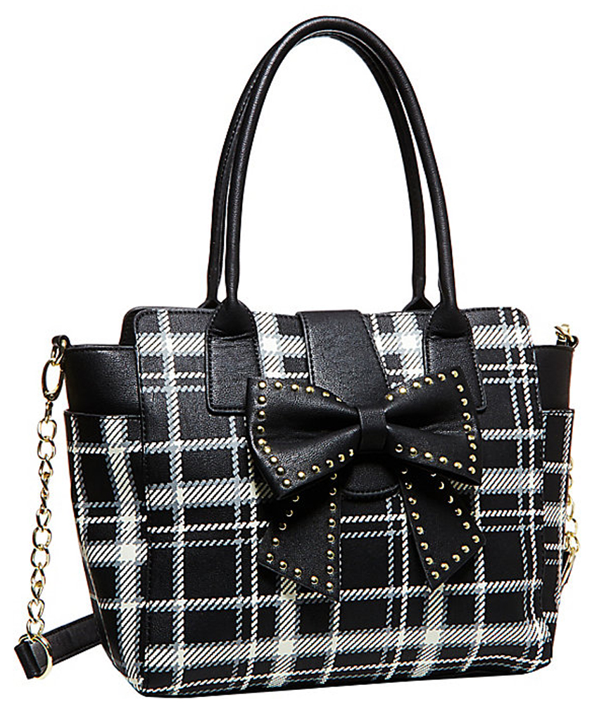 Betsey Johnson Handbag SINCERELY YOURS BOW TOTE Black White