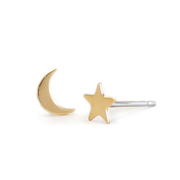 Kris Nations Jewelry Star and Moon Stud Earrings Gold