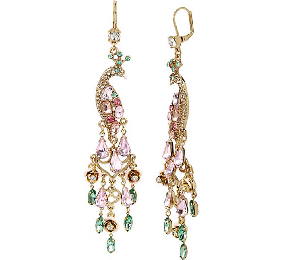 Betsey Johnson Jewelry MARIE ANTOINETTE DRAMATIC PEACOCK EARRING