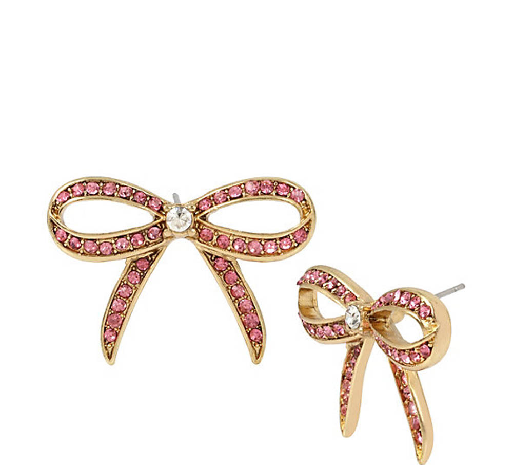 Betsey Johnson Jewelry MARIE ANTOINETTE PINK BOW BUTTON EARRING