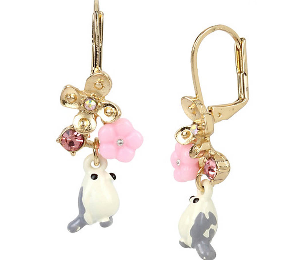 Betsey Johnson Jewelry MARIE ANTOINETTE WHITE BIRD DROP EARRING