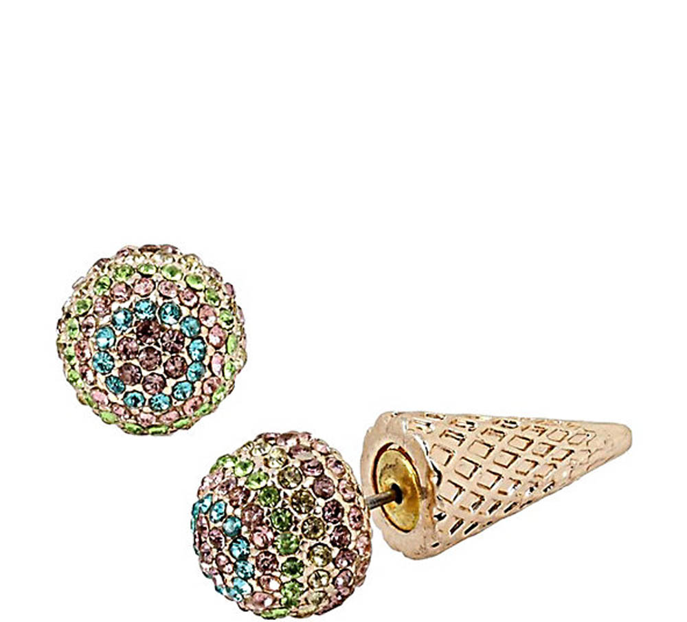Betsey Johnson Jewelry SWEET SHOP ICE CREAM CONE FRONT BACK EARRINGS