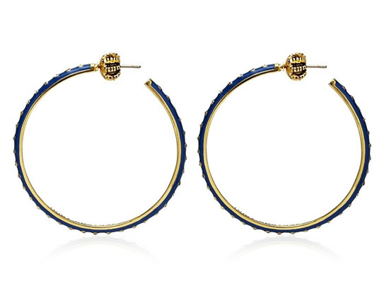 Juicy Couture Jewelry Blue Enamel And Rhinestone Medium Hoops Go