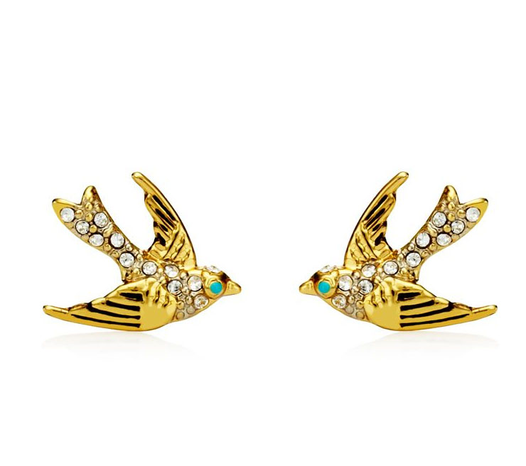 Juicy Couture Jewelry PAVE BIRD STUD EARRING Gold
