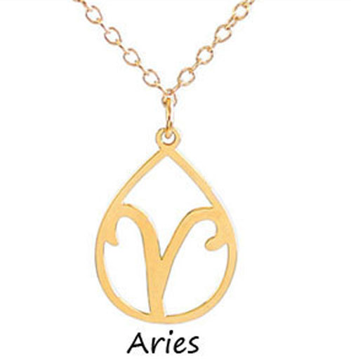 "Kris Nations Jewelry ""Aries"" Pendant Necklace Gold"