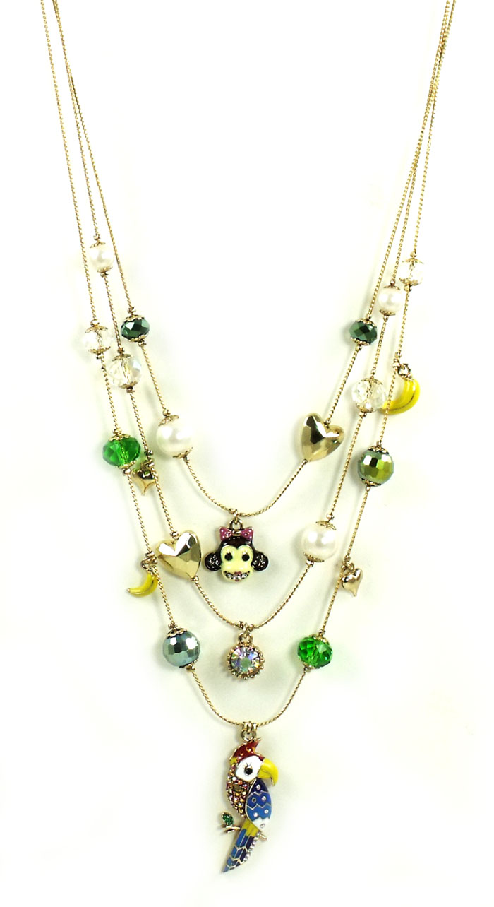 Betsey Johnson Jewelry Day at the Zoo Parrot Triple Layer Neckla