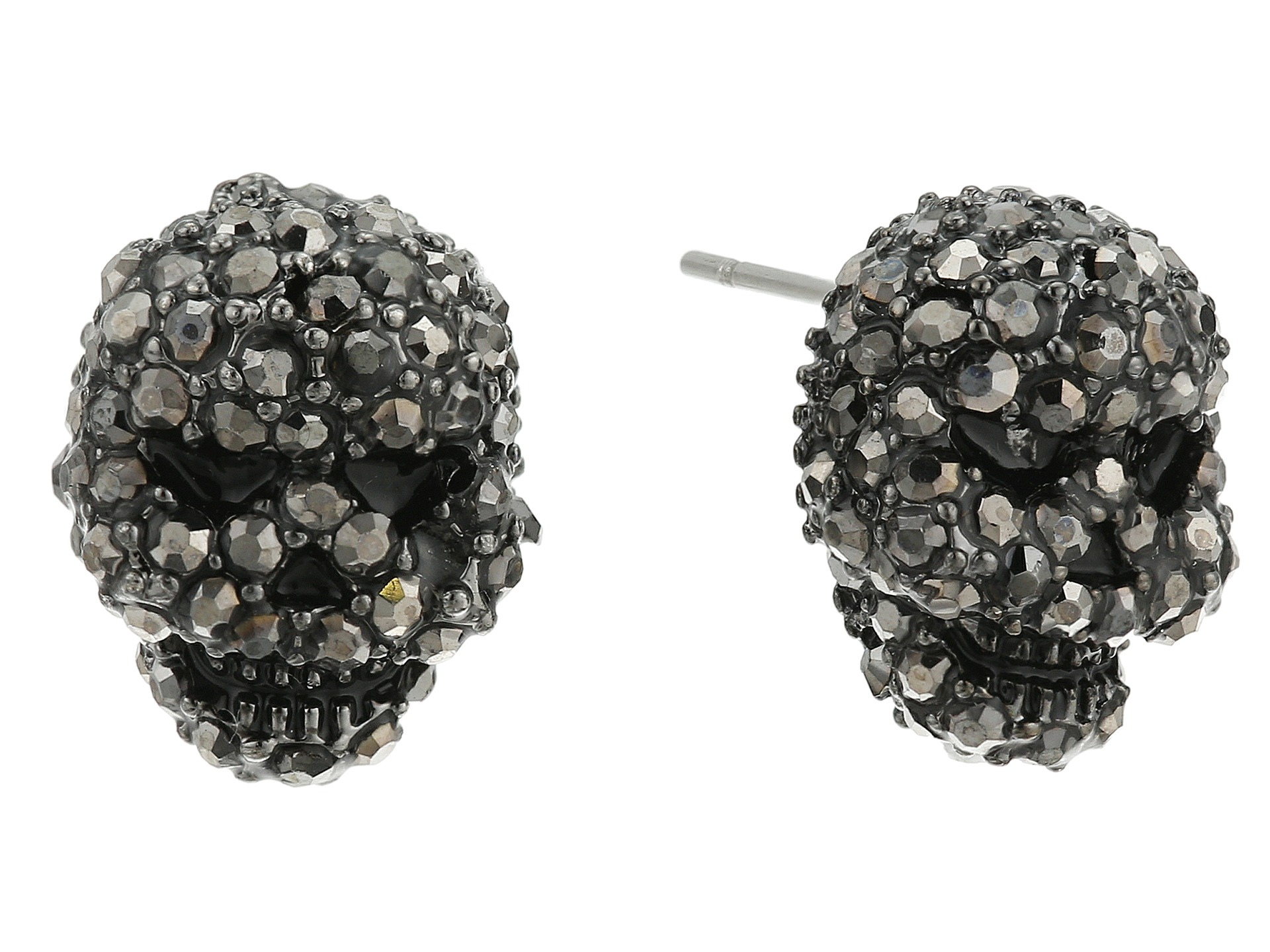 Betsey Johnson Jewelry Delicates Pave Skull Stud Earrings