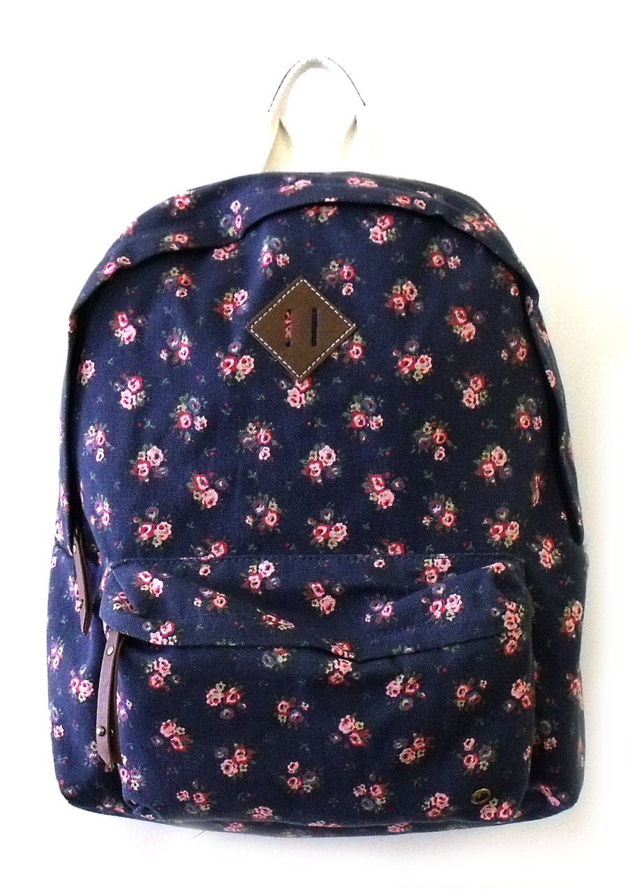 Steve Madden Handbag Navy Blue Floral Backpack New 2013