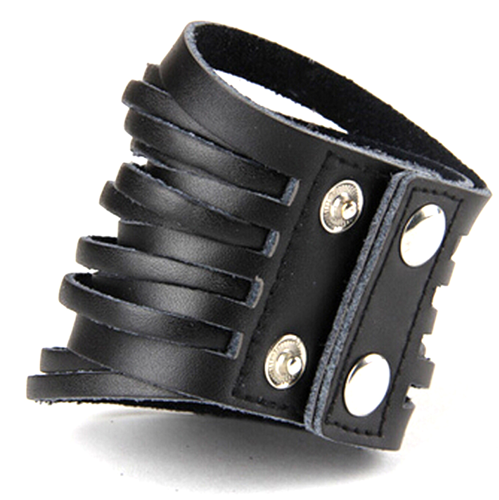 Punk Chic Jewelry Wide Black Leather Strand Bracelet